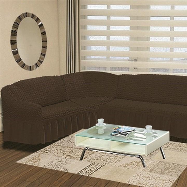 BRAUN Чехол на классический угловой диван от 350 до 470 см левосторонний коричневый - фото 15554