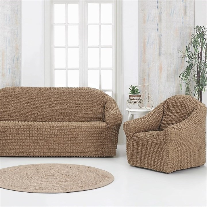 COFFEE Комплект чехлов на диван и 2 кресла капуччино - фото 20513