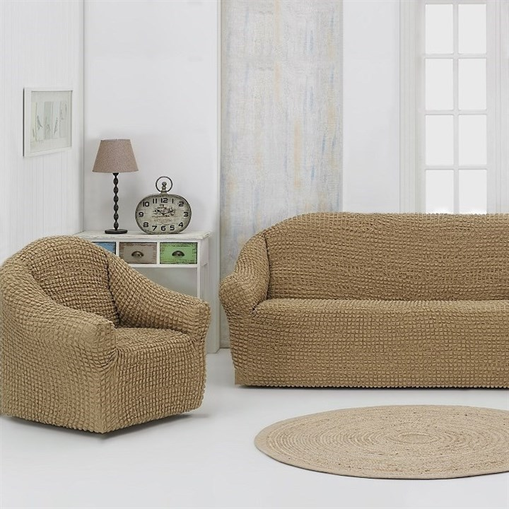 BEIGE Комплект чехлов на диван и 2 кресла бежевый - фото 20538