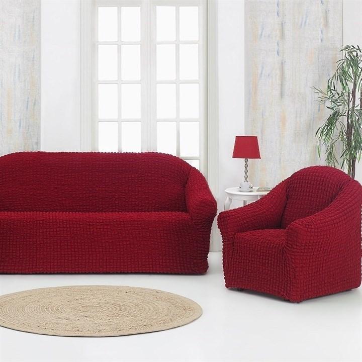 BORDO Комплект чехлов на диван и 2 кресла бордовый - фото 20545