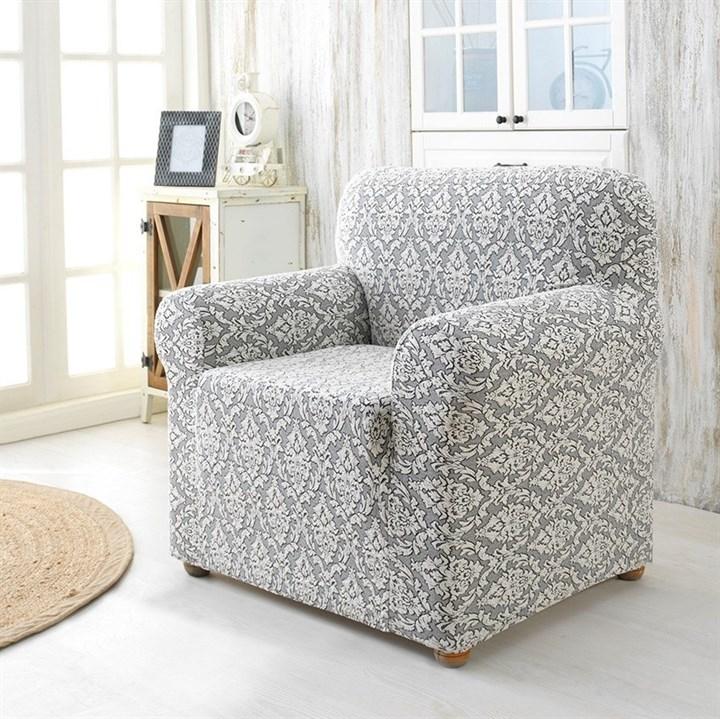 MILANO NATURAL Чехол для кресла от 70 до 110 см крем-графит - фото 23244