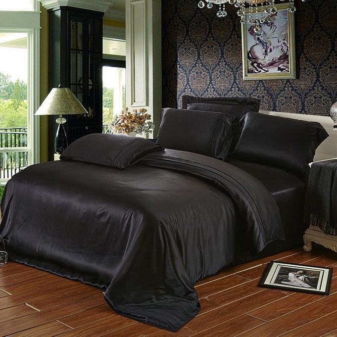 Шелковое постельное белье Black евро - фото 26820