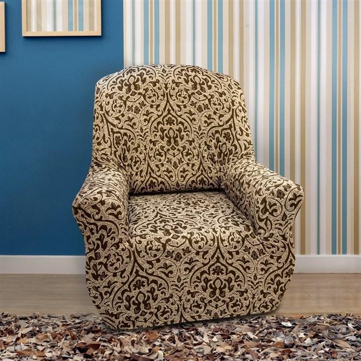 БОГЕМИЯ-М БЕЖ Чехол на кресло от 70 до 110 см - фото 32406