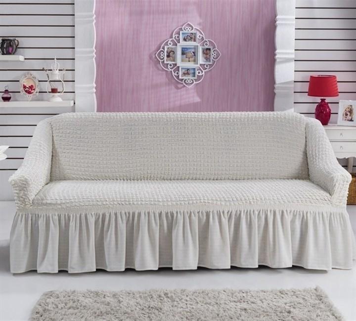 CREAM Чехол на 2-х местный диван от 120 до 170 см молочный - фото 32639