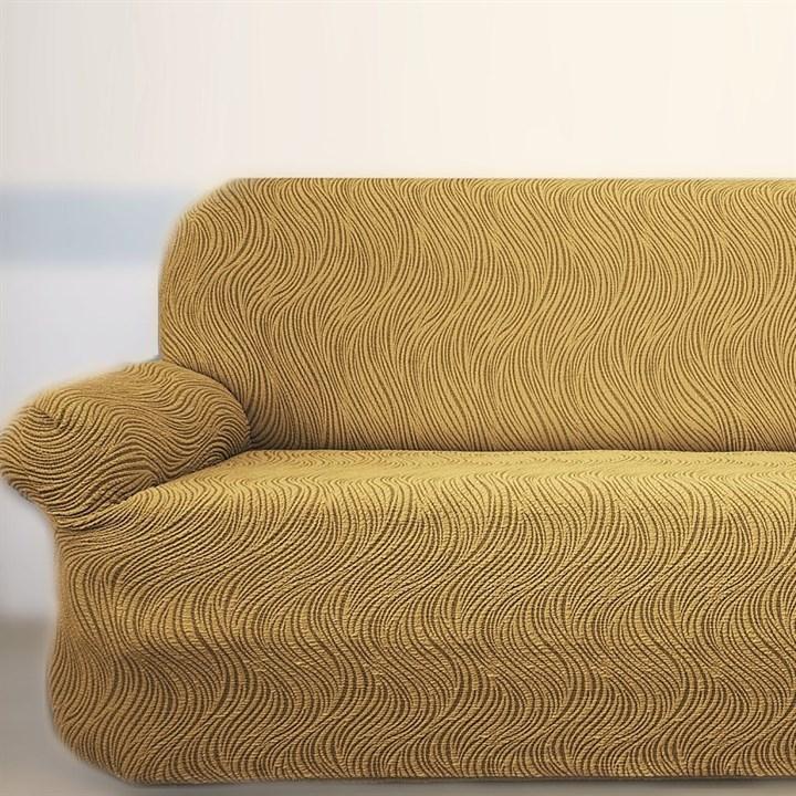 ВОЛНЫ БЕЖ Универсальный чехол на классический угловой диван от 400 до 550 см - фото 36775