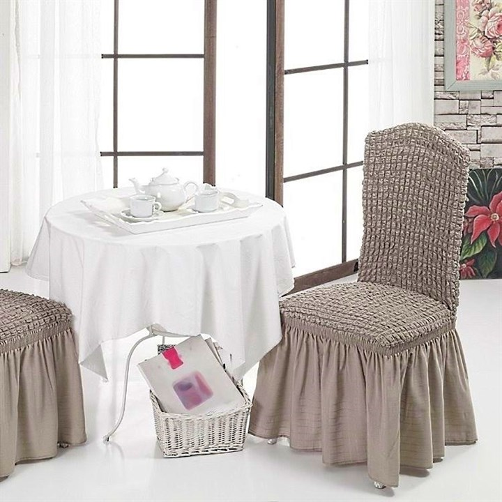COFFEE Чехлы на стулья со спинкой (2 шт.) капуччино - фото 41908