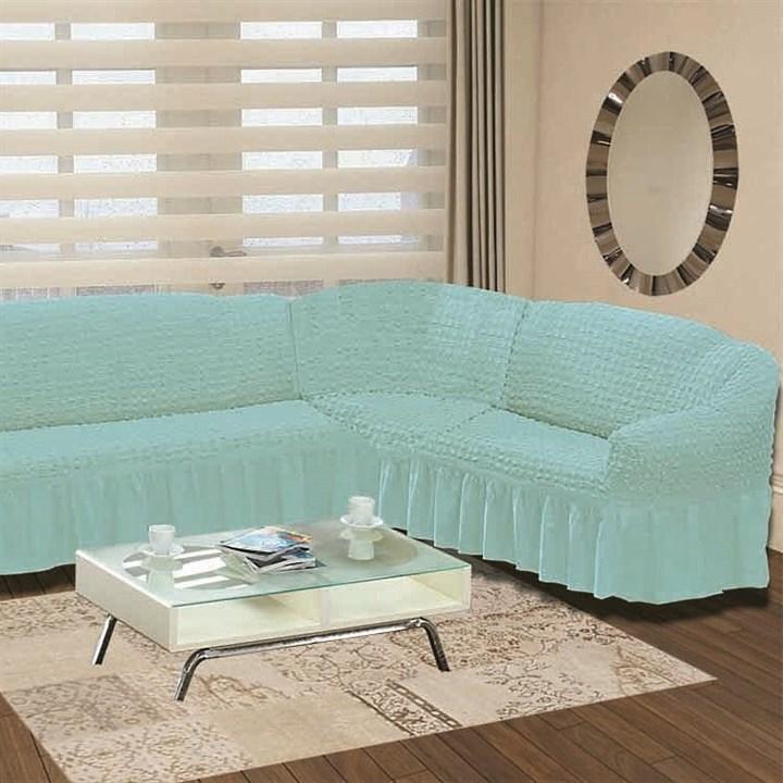 BLUE Чехол на классический угловой диван от 350 до 470 см правосторонний голубой - фото 80101