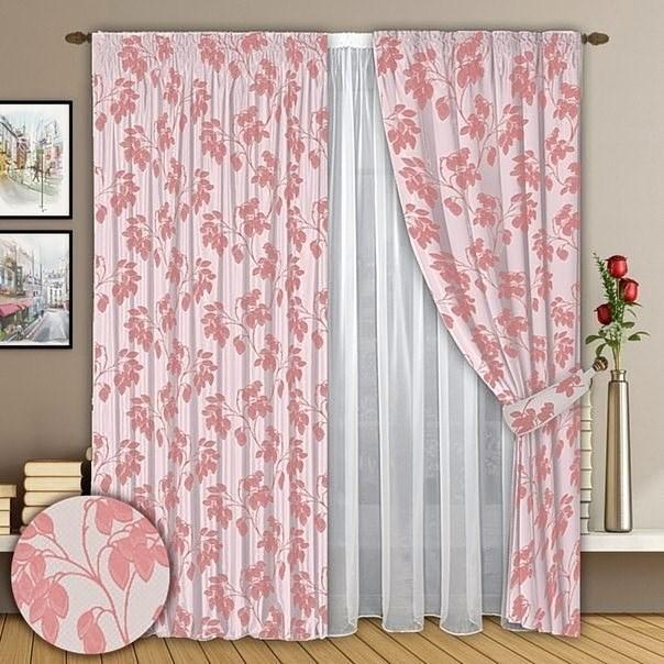 Готовые шторы с тюлем Верона розовые