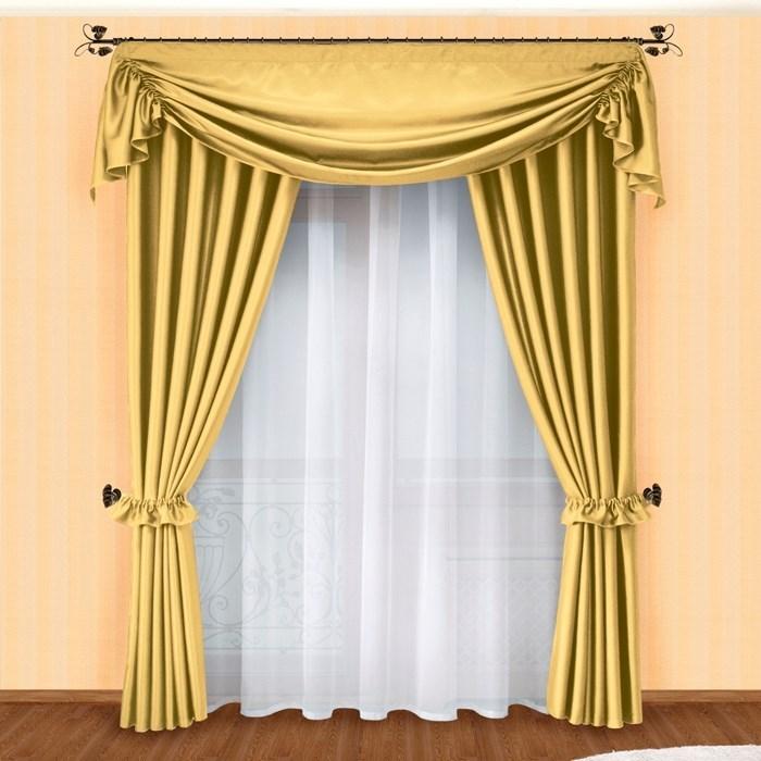 Готовые шторы с вуалью Маргарита золото