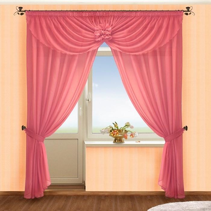 Готовые шторы Жоржетта брусника