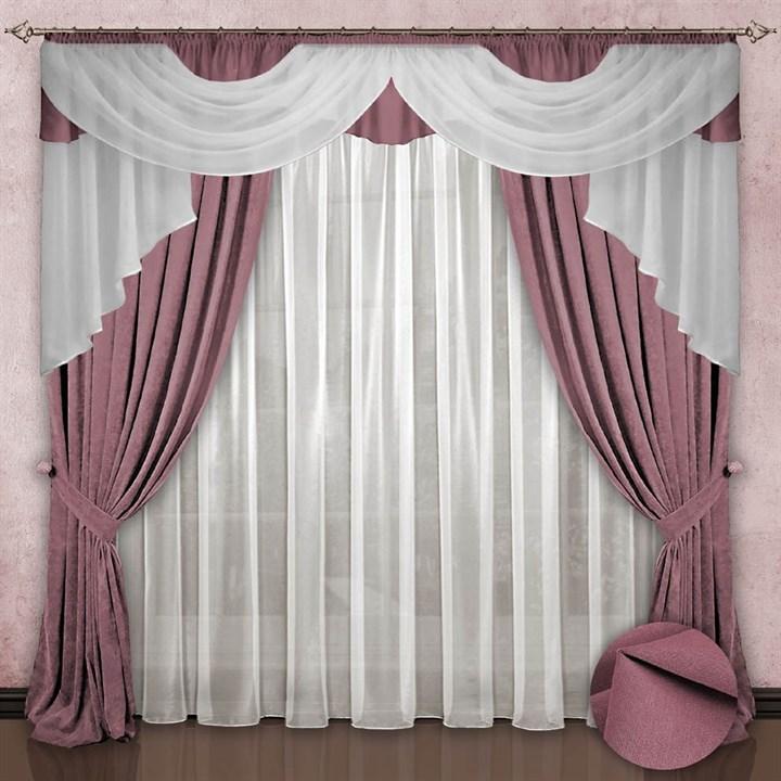 Готовые шторы с вуалью Элеонора rose - фото 8355