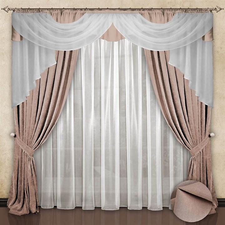 Готовые шторы с вуалью Элеонора beige