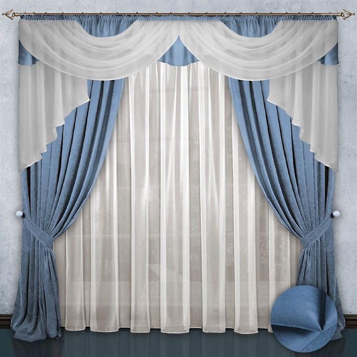 Готовые шторы с вуалью Элеонора blue
