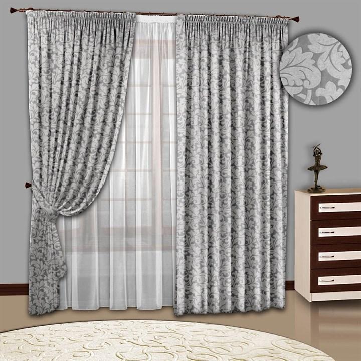 Готовые шторы с тюлем Вензель серебро
