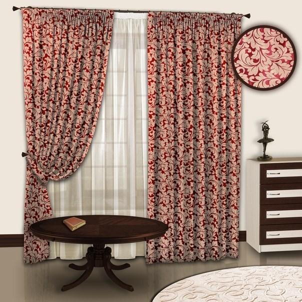 Готовые шторы с тюлем Вензель бордо
