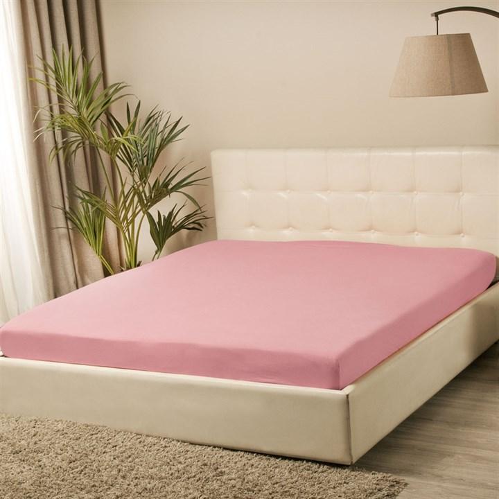 Простыня трикотажная Violett на резинке 120х200 розовая - фото 94763