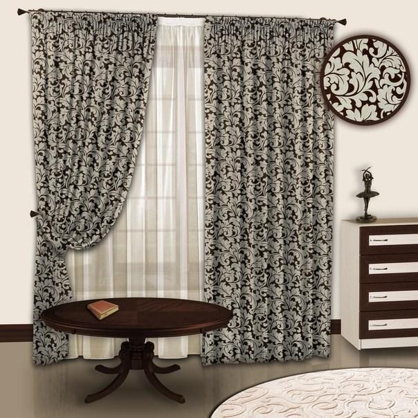 Готовые шторы с тюлем Вензель цвета шоколада