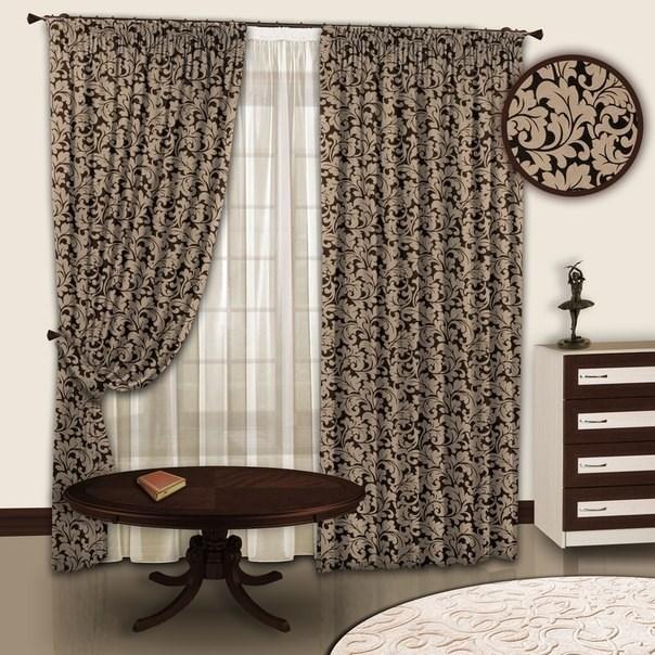 Готовые шторы с тюлем Вензель цвет шоколад-венге