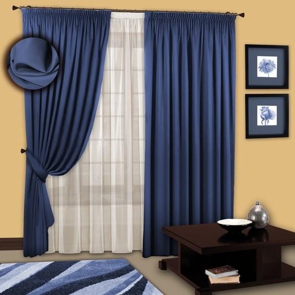Готовые шторы с вуалью Марианна синие индиго