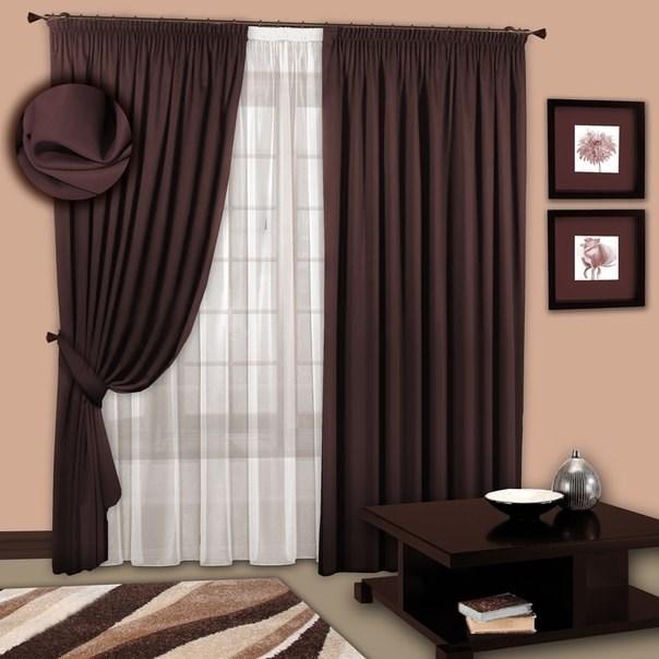 Готовые шторы с вуалью Марианна венге