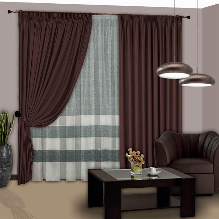 Готовые шторы с вуалью Элегия венге