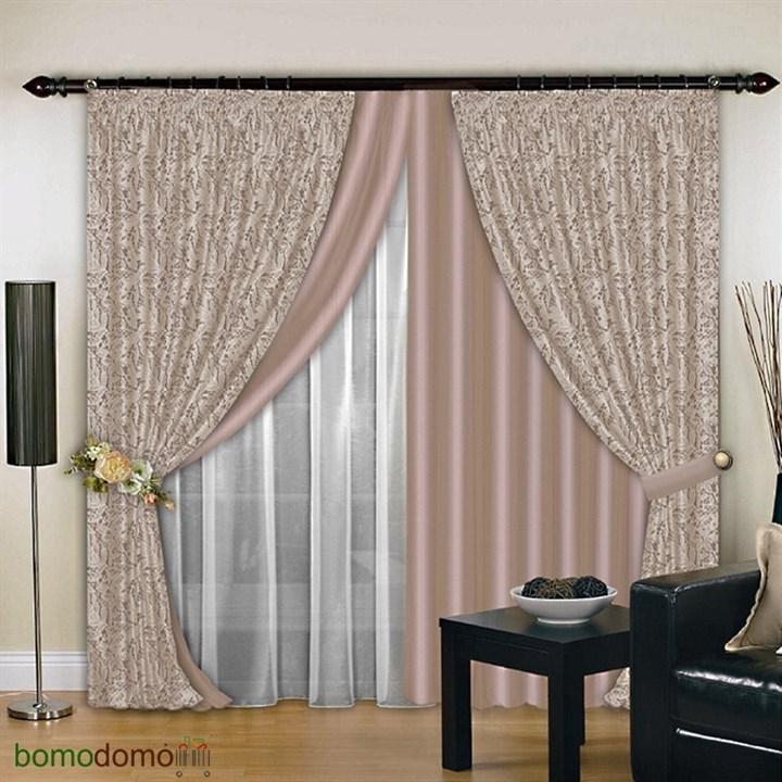 Комбинированные шторы Венера Эксклюзив какао - фото 96271
