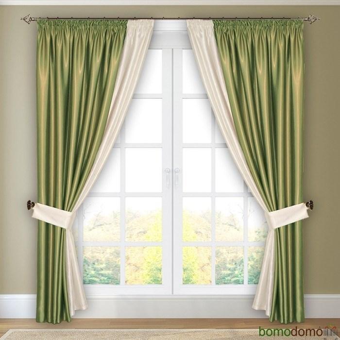 Готовые шторы с подхватами Парма фисташковые - фото 96313