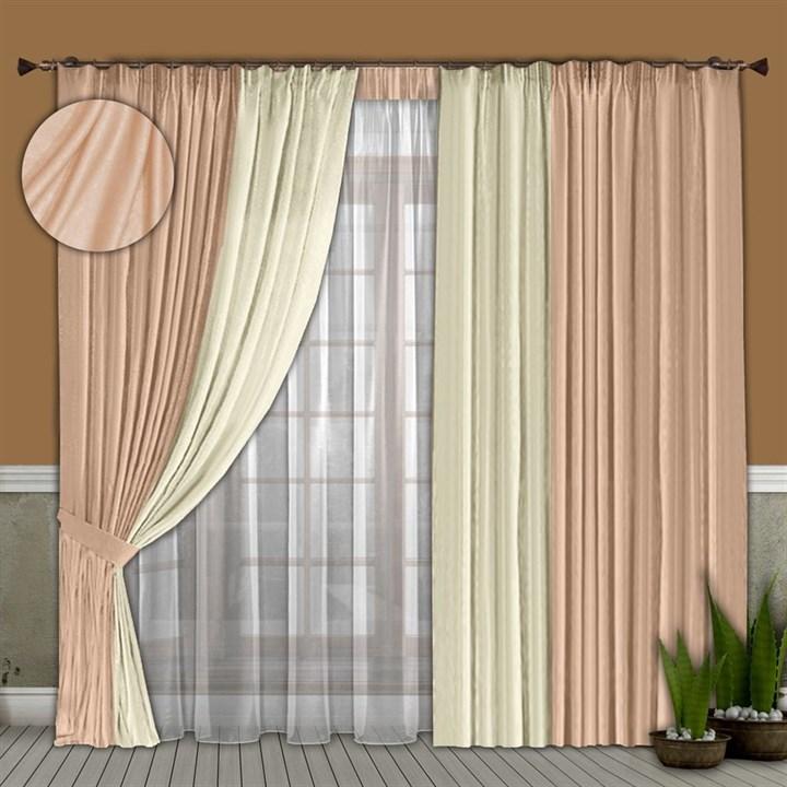 Готовые шторы с вуалью Элиза розовые