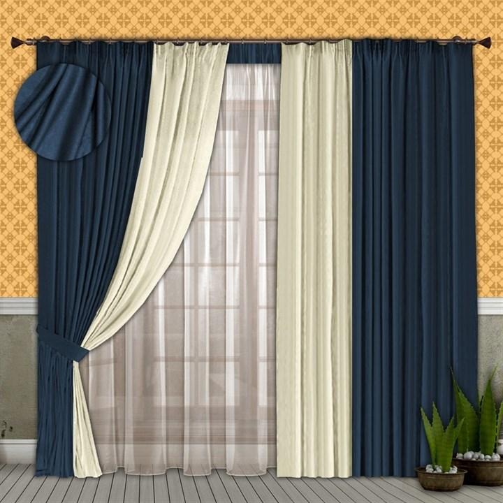 Готовые шторы с вуалью Элиза синие