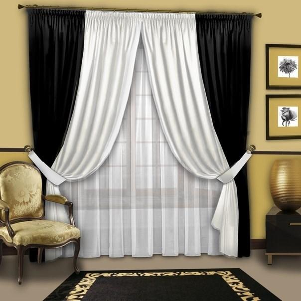 Готовые шторы с вуалью Аллегро черно-белые