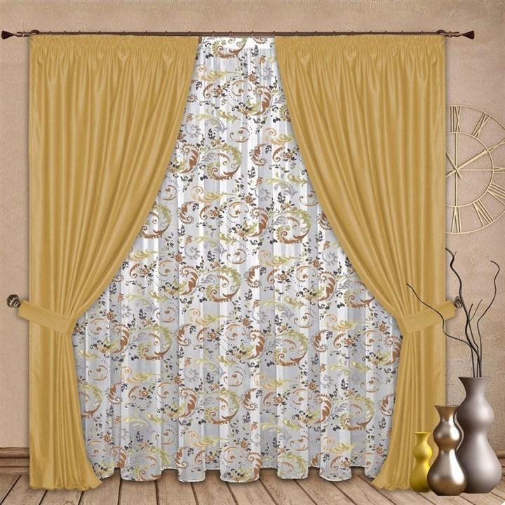 Готовые шторы с тюлем Альбина золото