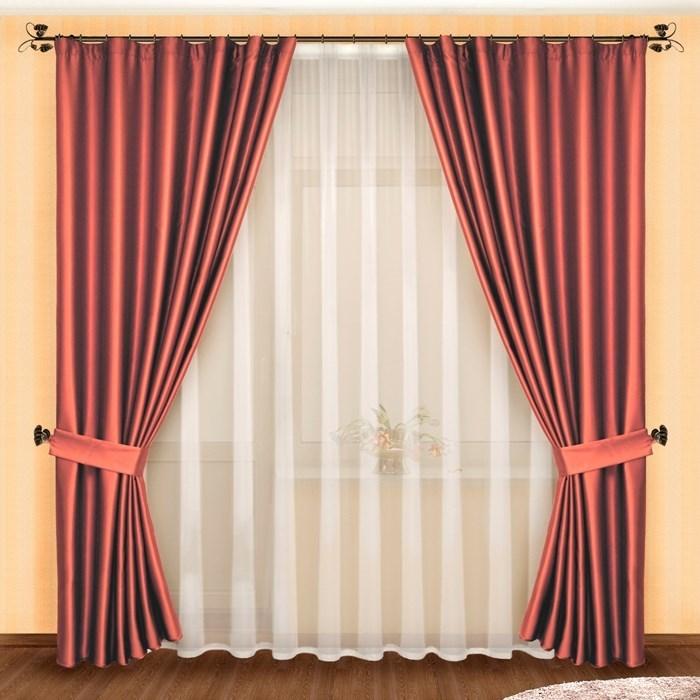 Готовые шторы с вуалью Луиза розовые