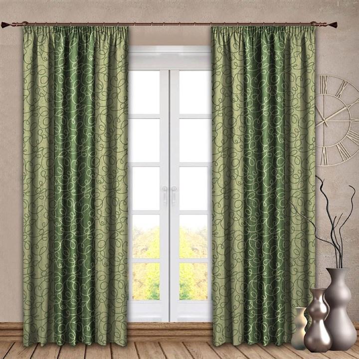 Готовые шторы Алисия зеленые