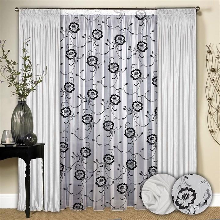 Готовые шторы с тюлем Маргарита черно-белые