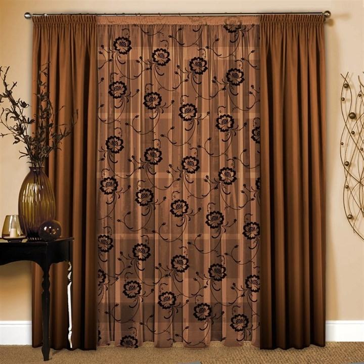 Готовые шторы с тюлем Маргарита шоколад