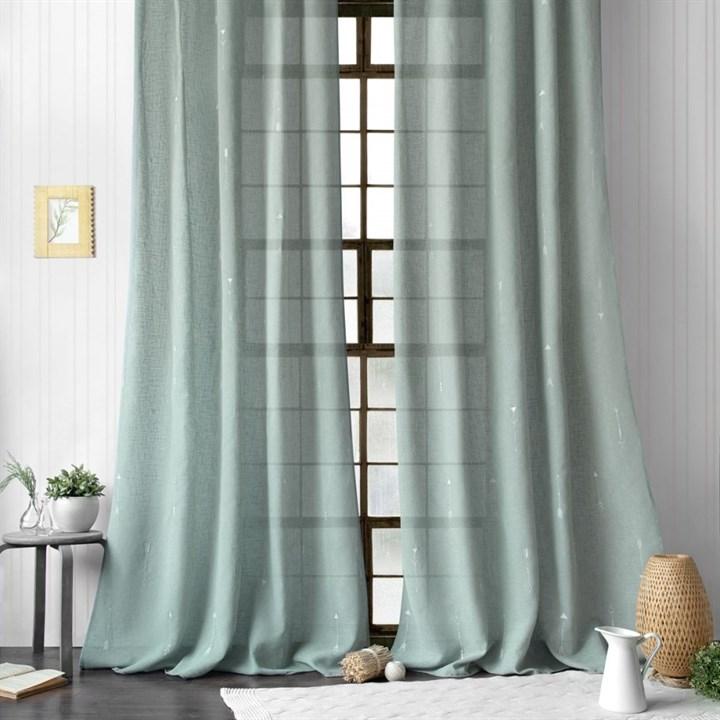 Легкие шторы с вышивкой Амми серо-голубые - фото 99583