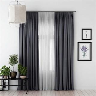 Комплект штор Pasionaria Блэкаут темно-серый (шир. 240) с вуалью и подхватами