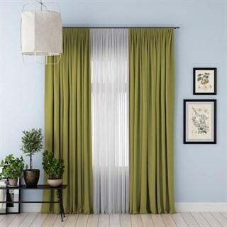 Комплект штор Pasionaria Блэкаут зеленый (шир. 240) с вуалью и подхватами