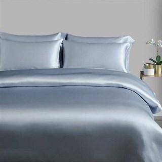 Шелковое постельное белье Sansa голубое евро