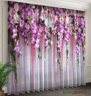 Фототюль 3D Ламбрекен из цветов