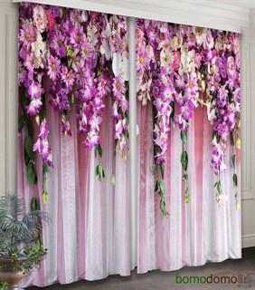 Фотошторы 3D Ламбрекен из цветов