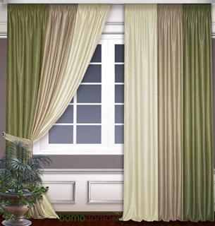 Комбинированные шторы Софт Оливка