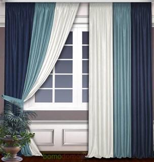 Комбинированные шторы Софт синий