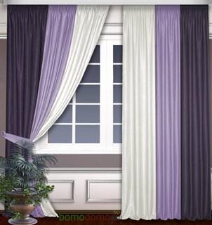 Комбинированные шторы Софт Сирень