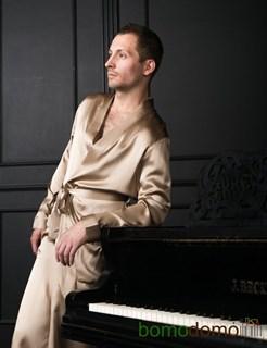 Мужской шелковый халат Luxe Dream бежевый, р-р XXL (50-52)