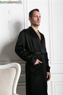 Мужской шелковый халат Luxe Dream черный, р-р XXXL (54-56)