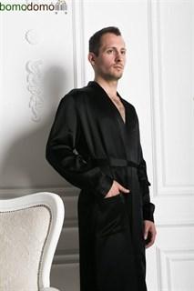 Мужской шелковый халат Luxe Dream черный, р-р XXXXL (56-58)