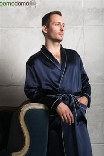 Мужской шелковый халат Luxe Dream Премиум темно-синий, р-р XXXXXL (58-60)