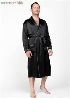 Мужской шелковый халат Luxe Dream Премиум черный, р-р XXXXXL (58-60)