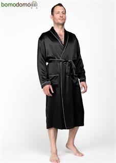 Мужской шелковый халат Luxe Dream Премиум черный, р-р XXXXL (56-58)